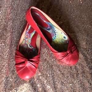 Born Red Leather Flats Sz 6.5